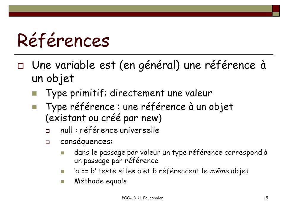 POO-L3 H. Fauconnier15 Références Une variable est (en général) une référence à un objet Type primitif: directement une valeur Type référence : une ré