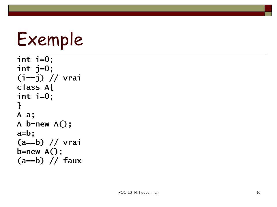 POO-L3 H. Fauconnier16 Exemple int i=0; int j=0; (i==j) // vrai class A{ int i=0; } A a; A b=new A(); a=b; (a==b) // vrai b=new A(); (a==b) // faux
