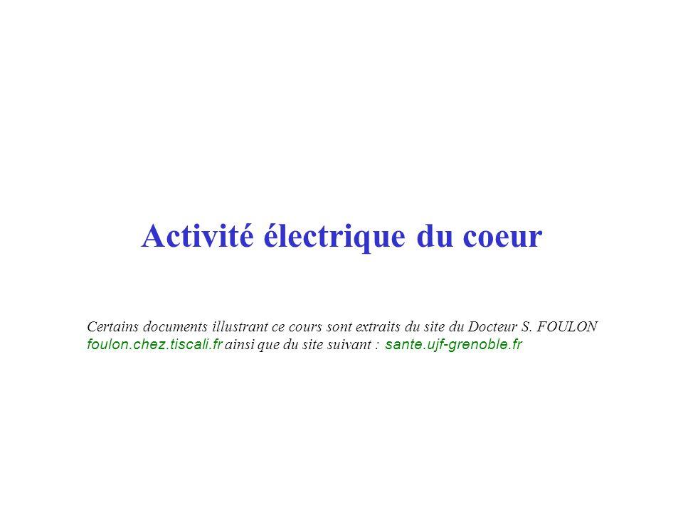Activité électrique du coeur Certains documents illustrant ce cours sont extraits du site du Docteur S. FOULON foulon.chez.tiscali.fr ainsi que du sit