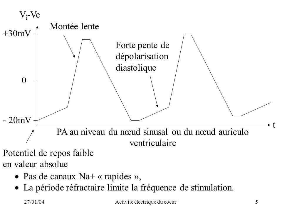 27/01/04Activité électrique du coeur6 Physiologiquement –Naissance périodique de linflux au niveau du nœud sinusal (de façon automatique : « pace maker ») –Conduction à travers les oreillettes qui se contractent –Passage de linflux au niveau du nœud auriculoventriculaire ; retard de 0,15 s qui laisse le temps au sang de remplir les ventricules –Passage de linflux dans le septum par le faisceau de His car pas de passage direct entre oreillettes et ventricules du fait dun anneau fibreux isolant –La vitesse de conduction 4 m/s contre 0,4 m/s dans le tissu myocardique –Passage de linflux dans les parois ventriculaires par le réseau de Purkinje –Contraction des ventricules (systole ventriculaire) –Repolarisation des ventricules
