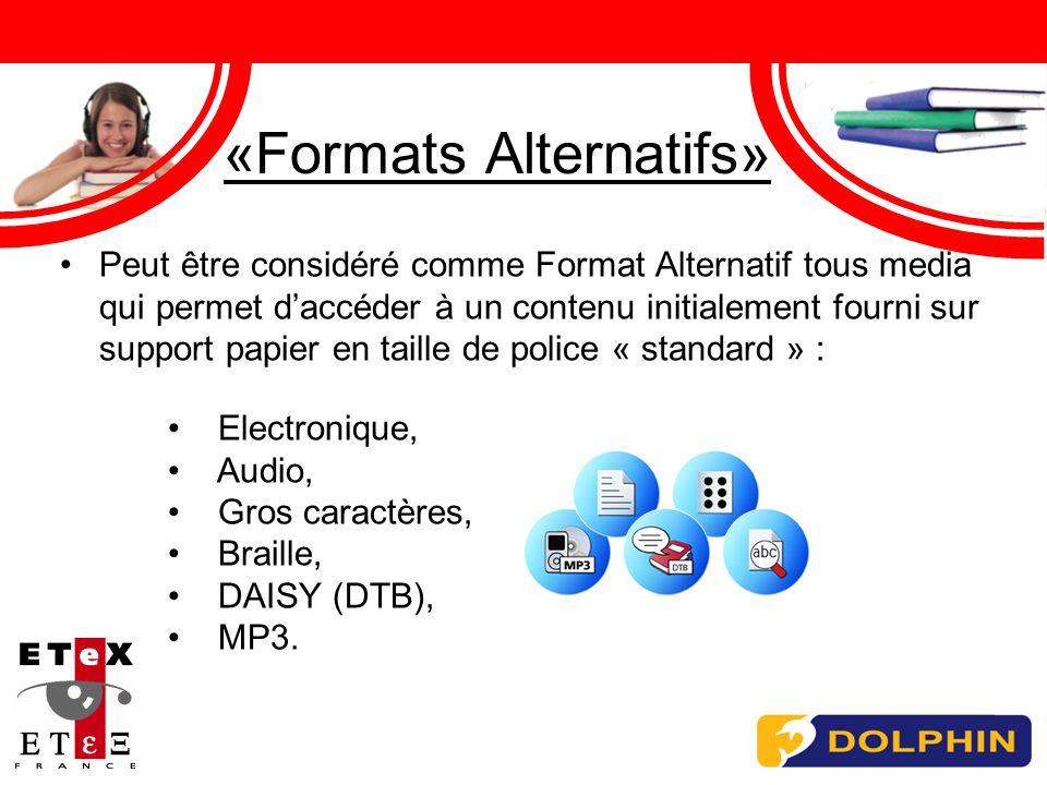 «Formats Alternatifs» Peut être considéré comme Format Alternatif tous media qui permet daccéder à un contenu initialement fourni sur support papier en taille de police « standard » : Electronique, Audio, Gros caractères, Braille, DAISY (DTB), MP3.