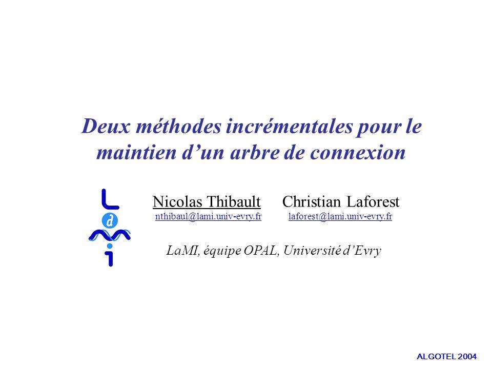 SYNTHESE : Les rapports de compétitivité Bornes inférieures Sommet-ajoutPlus-proche-ajout Somme des distancesΩ(i)Ω(i)(i+1)2i Diamètre22i PoidsΩ(log i)ilog 2 (i+1) ALGOTEL 2004