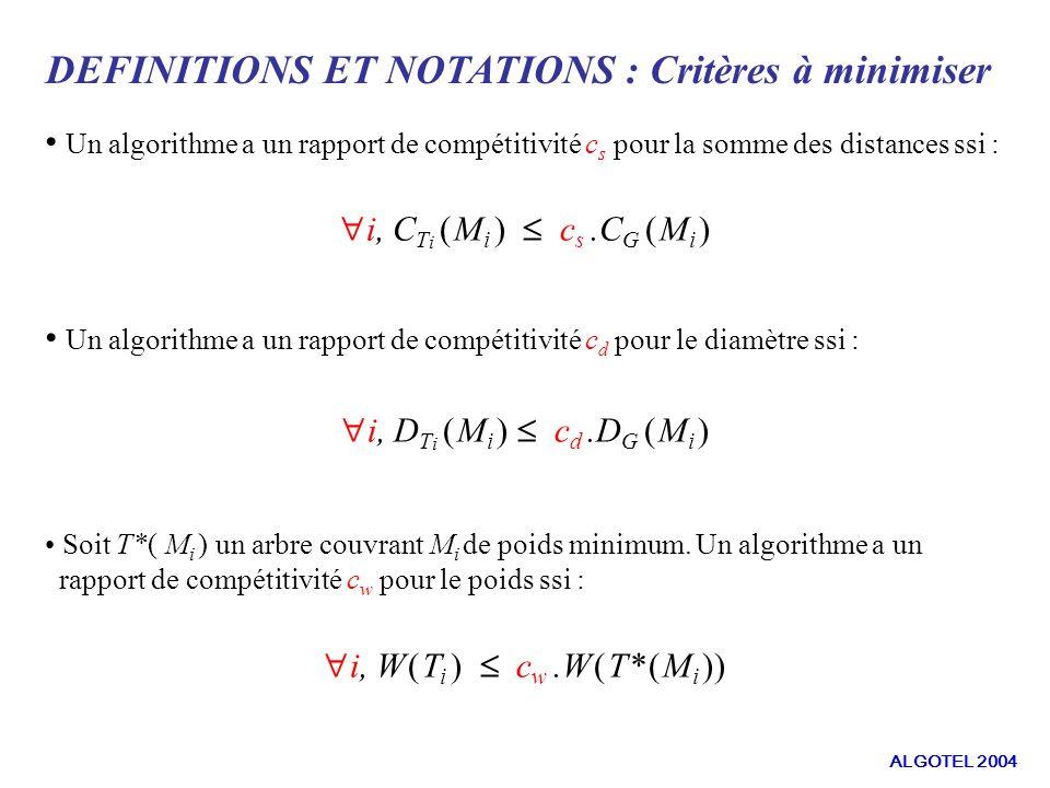 DEFINITIONS ET NOTATIONS : Critères à minimiser Un algorithme a un rapport de compétitivité c s pour la somme des distances ssi : Un algorithme a un rapport de compétitivité c d pour le diamètre ssi : Soit T*( M i ) un arbre couvrant M i de poids minimum.