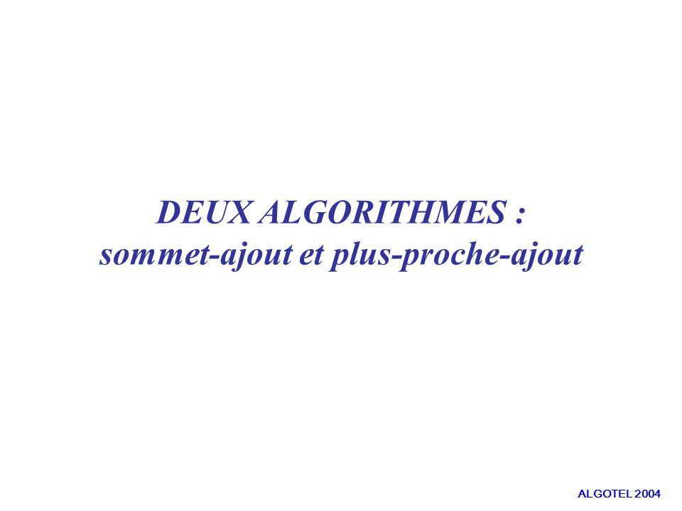 DEUX ALGORITHMES : sommet-ajout et plus-proche-ajout ALGOTEL 2004