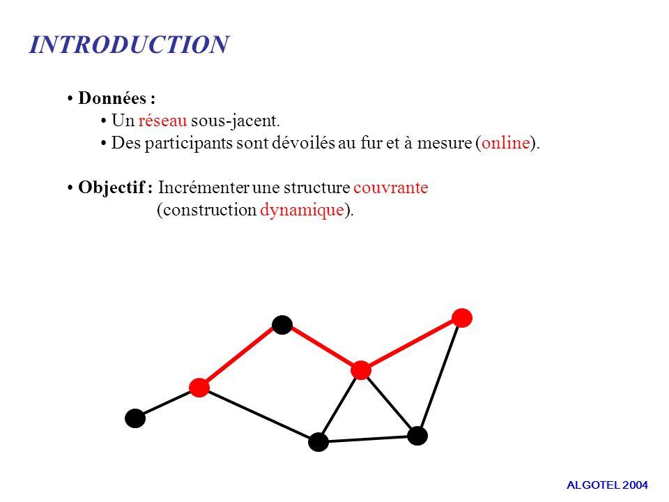 DEFINITIONS ET NOTATIONS : Critères à minimiser La somme des distances entre tout couple de membres de M dans G : Le diamètre de M dans G : C G ( M ) = Σ d G ( u,v ) u,v M D G ( M ) = max { d G (u,v) : u,v M } ALGOTEL 2004