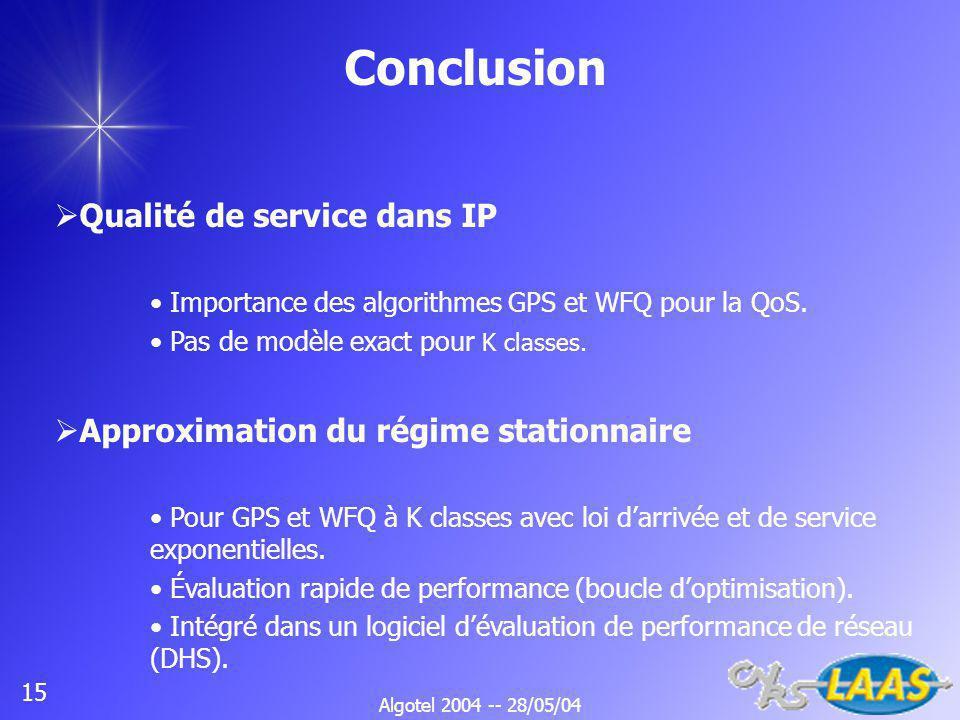 Algotel 2004 -- 28/05/04 15 Conclusion Qualité de service dans IP Importance des algorithmes GPS et WFQ pour la QoS.