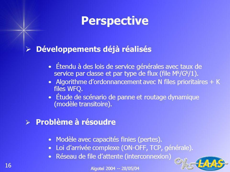 Algotel 2004 -- 28/05/04 16 Perspective Développements déjà réalisés Étendu à des lois de service générales avec taux de service par classe et par type de flux (file M k /G k /1).