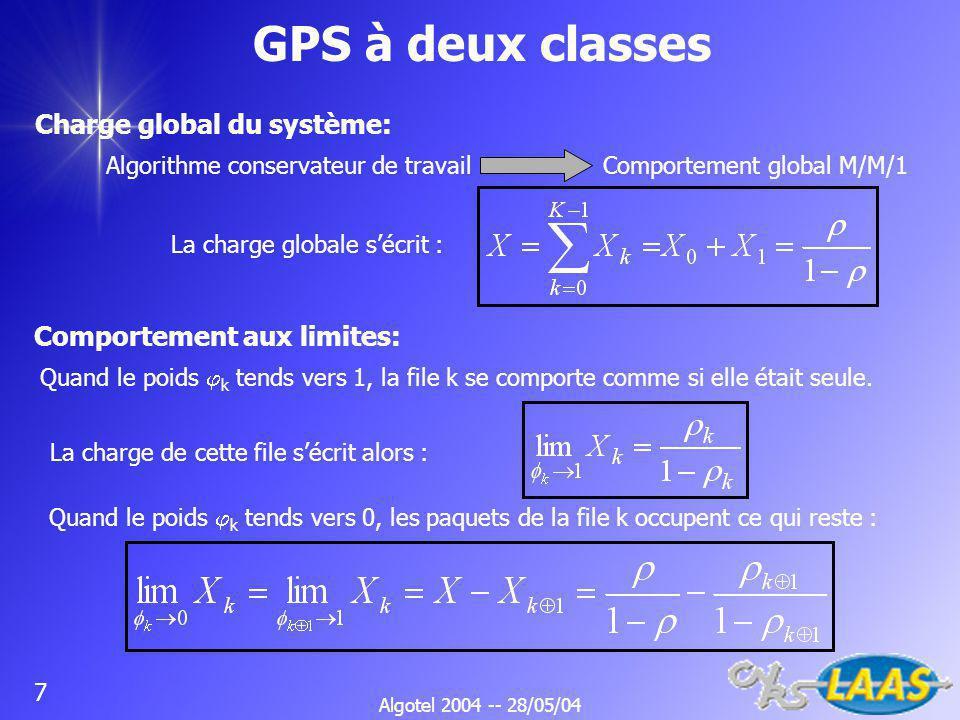 Algotel 2004 -- 28/05/04 7 GPS à deux classes Comportement aux limites: Charge global du système: Algorithme conservateur de travail Comportement global M/M/1 La charge globale sécrit : Quand le poids k tends vers 1, la file k se comporte comme si elle était seule.
