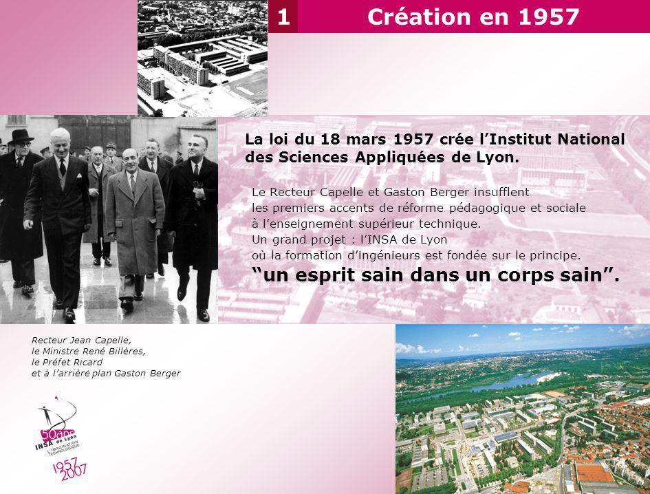 La loi du 18 mars 1957 crée lInstitut National des Sciences Appliquées de Lyon. Le Recteur Capelle et Gaston Berger insufflent les premiers accents de