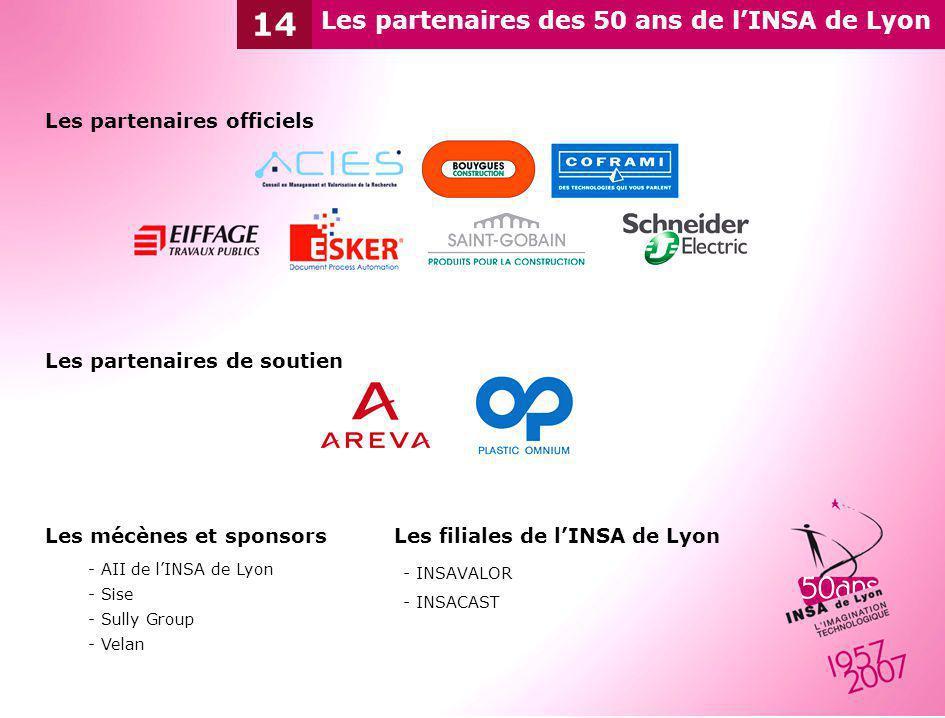 Les mécènes et sponsors - AII de lINSA de Lyon - Sise - Sully Group - Velan Les partenaires des 50 ans de lINSA de Lyon 14 Les partenaires officiels L