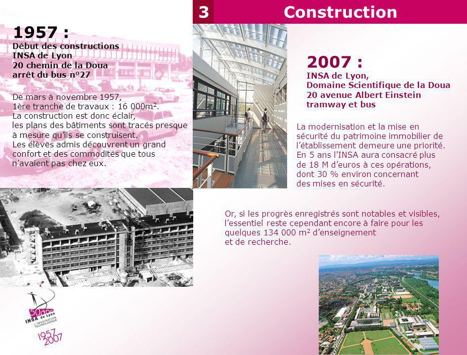 3Construction 1957 : Début des constructions INSA de Lyon 20 chemin de la Doua arrêt du bus n°27 De mars à novembre 1957, 1ère tranche de travaux : 16