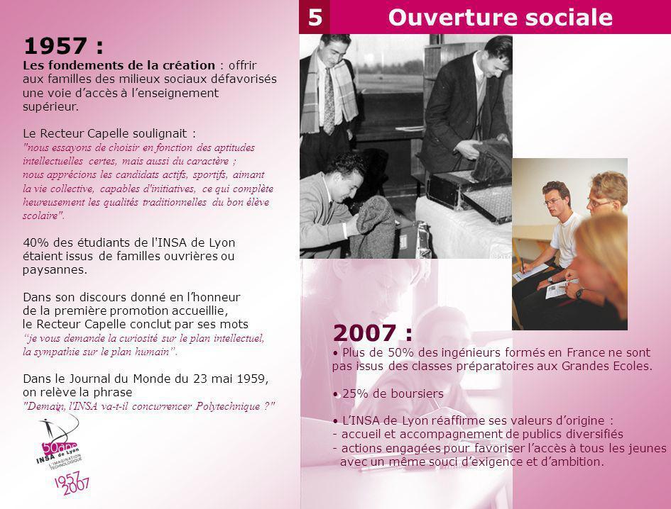 5Ouverture sociale 1957 : Les fondements de la création : offrir aux familles des milieux sociaux défavorisés une voie daccès à lenseignement supérieu