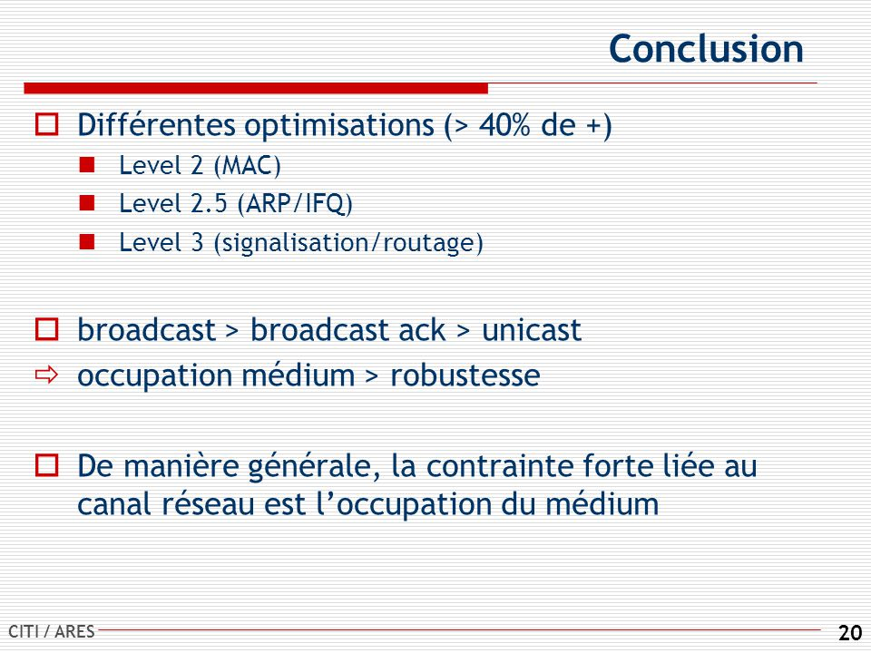 CITI / ARES 20 Conclusion Différentes optimisations (> 40% de +) Level 2 (MAC) Level 2.5 (ARP/IFQ) Level 3 (signalisation/routage) broadcast > broadcast ack > unicast occupation médium > robustesse De manière générale, la contrainte forte liée au canal réseau est loccupation du médium