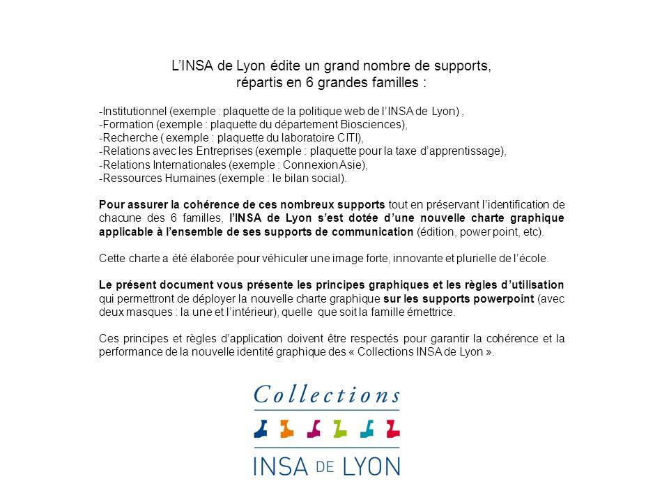 LINSA de Lyon édite un grand nombre de supports, répartis en 6 grandes familles : -Institutionnel (exemple : plaquette de la politique web de lINSA de