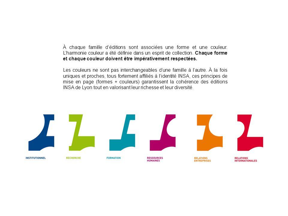 À chaque famille déditions sont associées une forme et une couleur.