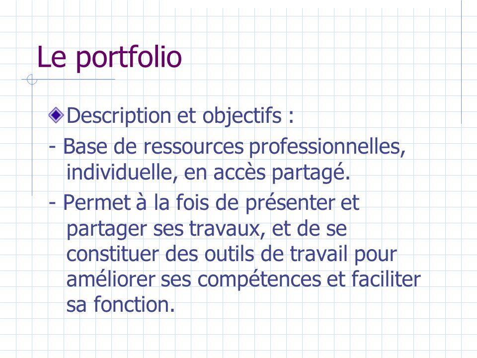 Le portfolio Description et objectifs : - Base de ressources professionnelles, individuelle, en accès partagé.