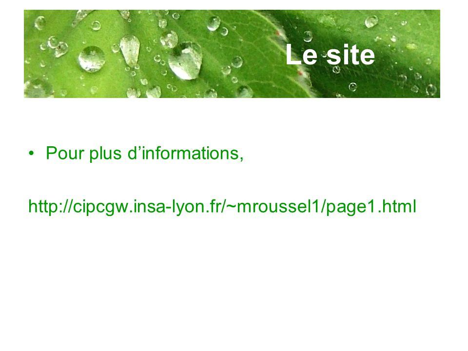 Le site Pour plus dinformations, http://cipcgw.insa-lyon.fr/~mroussel1/page1.html