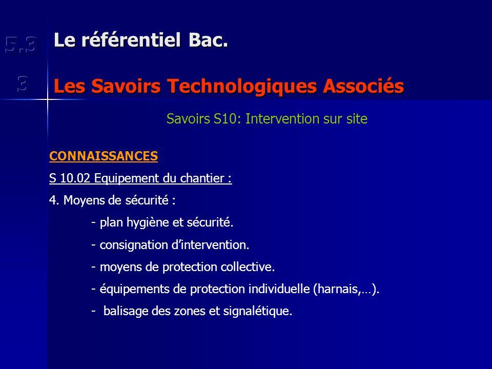 Le référentiel Bac. Les Savoirs Technologiques Associés Savoirs S10: Intervention sur site CONNAISSANCES S 10.02 Equipement du chantier : 4. Moyens de