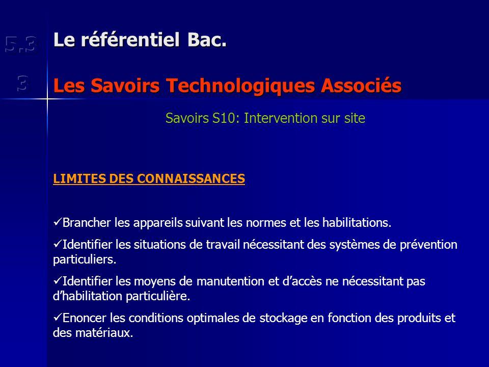 Le référentiel Bac. Les Savoirs Technologiques Associés Savoirs S10: Intervention sur site LIMITES DES CONNAISSANCES Brancher les appareils suivant le