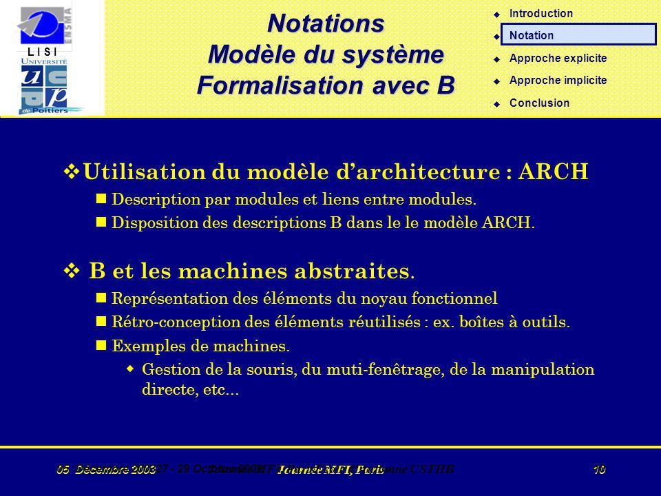 L I S I 05 Décembre 2003 Journée MFI, Paris 10 05 Décembre 200327 - 29 Octobre 2002 Journée MFI, ParisEcole d Automne USTHB 10 v Utilisation du modèle darchitecture : ARCH nDescription par modules et liens entre modules.