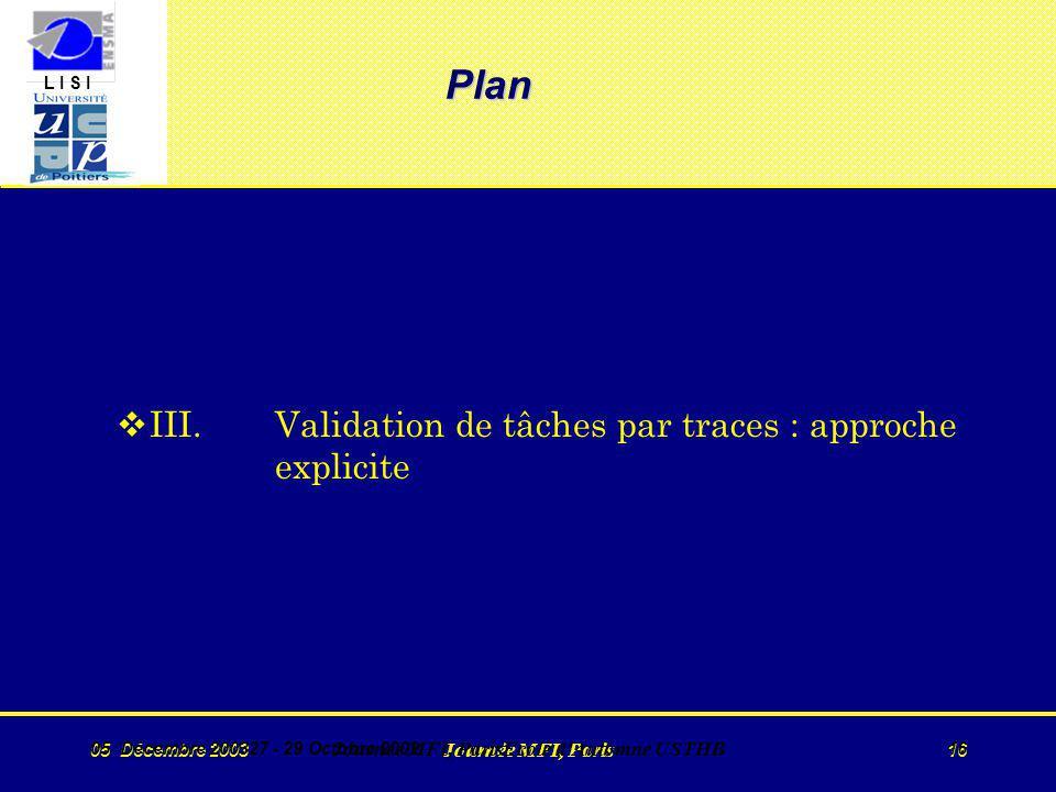 L I S I 05 Décembre 2003 Journée MFI, Paris 16 05 Décembre 200327 - 29 Octobre 2002 Journée MFI, ParisEcole d Automne USTHB 16 Plan vIII.