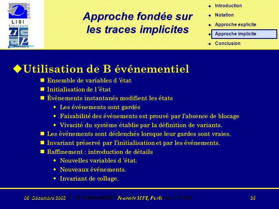 L I S I 05 Décembre 2003 Journée MFI, Paris 26 05 Décembre 200327 - 29 Octobre 2002 Journée MFI, ParisEcole d Automne USTHB 26 Approche fondée sur les traces implicites u Utilisation de B événementiel nEnsemble de variables d état nInitialisation de l état nÉvènements instantanés modifient les états wLes événements sont gardés wFaisabilité des événements est prouvé par labsence de blocage wVivacité du système établie par la définition de variants.