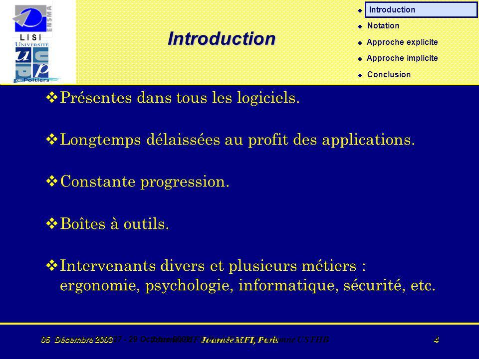 L I S I 05 Décembre 2003 Journée MFI, Paris 4 05 Décembre 200327 - 29 Octobre 2002 Journée MFI, ParisEcole d Automne USTHB 4 Introduction vPrésentes dans tous les logiciels.