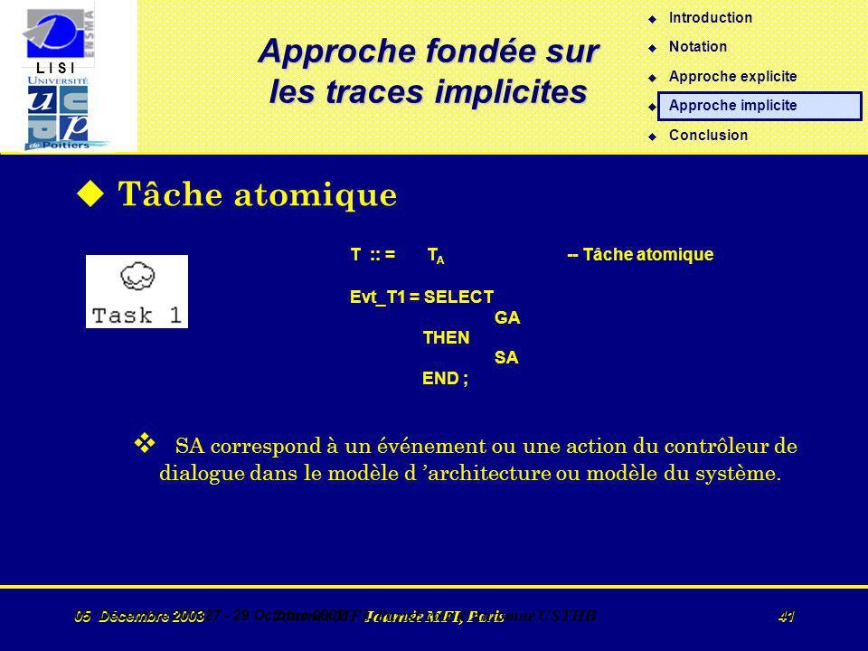 L I S I 05 Décembre 2003 Journée MFI, Paris 41 05 Décembre 200327 - 29 Octobre 2002 Journée MFI, ParisEcole d Automne USTHB 41 Approche fondée sur les traces implicites u Tâche atomique T :: = T A -- Tâche atomique Evt_T1 = SELECT GA THEN SA END ; v SA correspond à un événement ou une action du contrôleur de dialogue dans le modèle d architecture ou modèle du système.