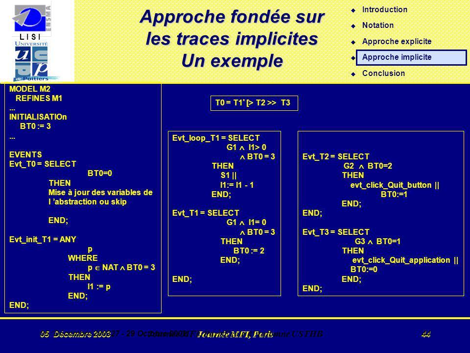 L I S I 05 Décembre 2003 Journée MFI, Paris 44 05 Décembre 200327 - 29 Octobre 2002 Journée MFI, ParisEcole d Automne USTHB 44 Approche fondée sur les traces implicites Un exemple MODEL M2 REFINES M1...