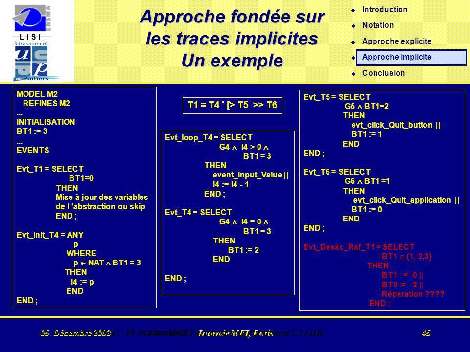 L I S I 05 Décembre 2003 Journée MFI, Paris 45 05 Décembre 200327 - 29 Octobre 2002 Journée MFI, ParisEcole d Automne USTHB 45 Approche fondée sur les traces implicites Un exemple T1 = T4 * [> T5 >> T6 MODEL M2 REFINES M2...