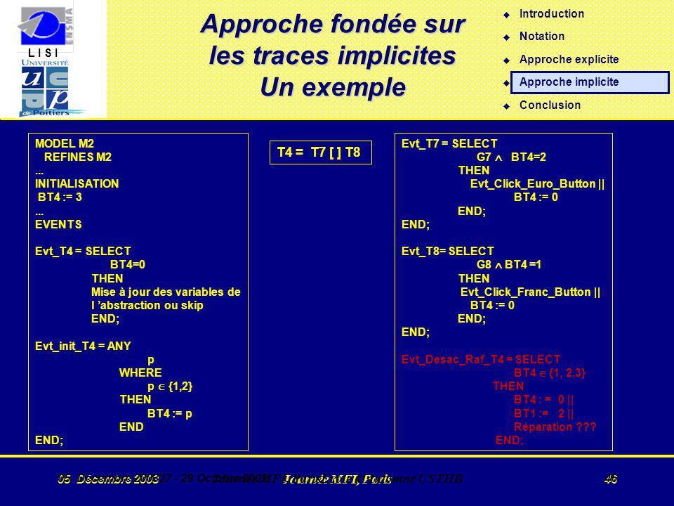 L I S I 05 Décembre 2003 Journée MFI, Paris 46 05 Décembre 200327 - 29 Octobre 2002 Journée MFI, ParisEcole d Automne USTHB 46 Approche fondée sur les traces implicites Un exemple MODEL M2 REFINES M2...