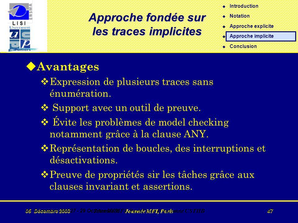 L I S I 05 Décembre 2003 Journée MFI, Paris 47 05 Décembre 200327 - 29 Octobre 2002 Journée MFI, ParisEcole d Automne USTHB 47 Approche fondée sur les traces implicites u Avantages vExpression de plusieurs traces sans énumération.