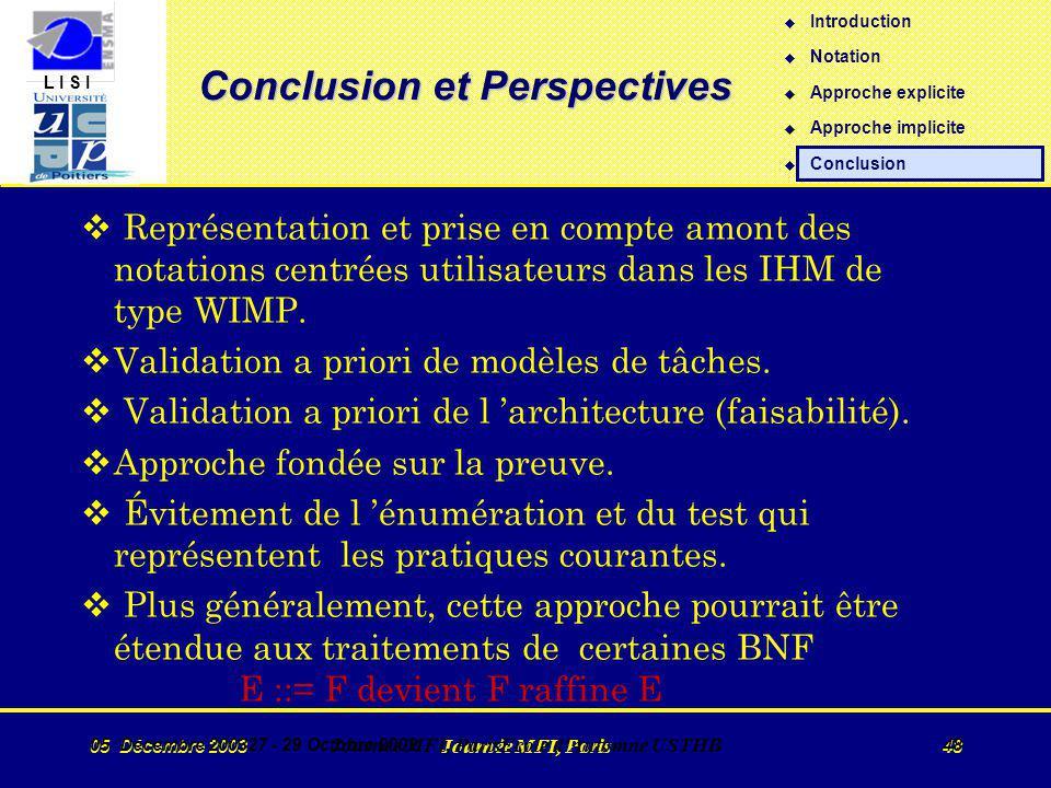 L I S I 05 Décembre 2003 Journée MFI, Paris 48 05 Décembre 200327 - 29 Octobre 2002 Journée MFI, ParisEcole d Automne USTHB 48 v Représentation et prise en compte amont des notations centrées utilisateurs dans les IHM de type WIMP.