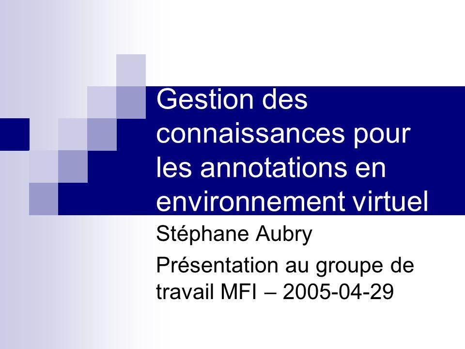 Gestion des connaissances pour les annotations en environnement virtuel Stéphane Aubry Présentation au groupe de travail MFI – 2005-04-29