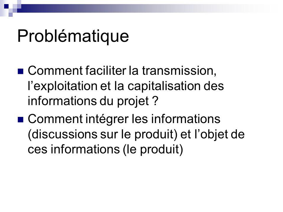 Problématique Comment faciliter la transmission, lexploitation et la capitalisation des informations du projet .