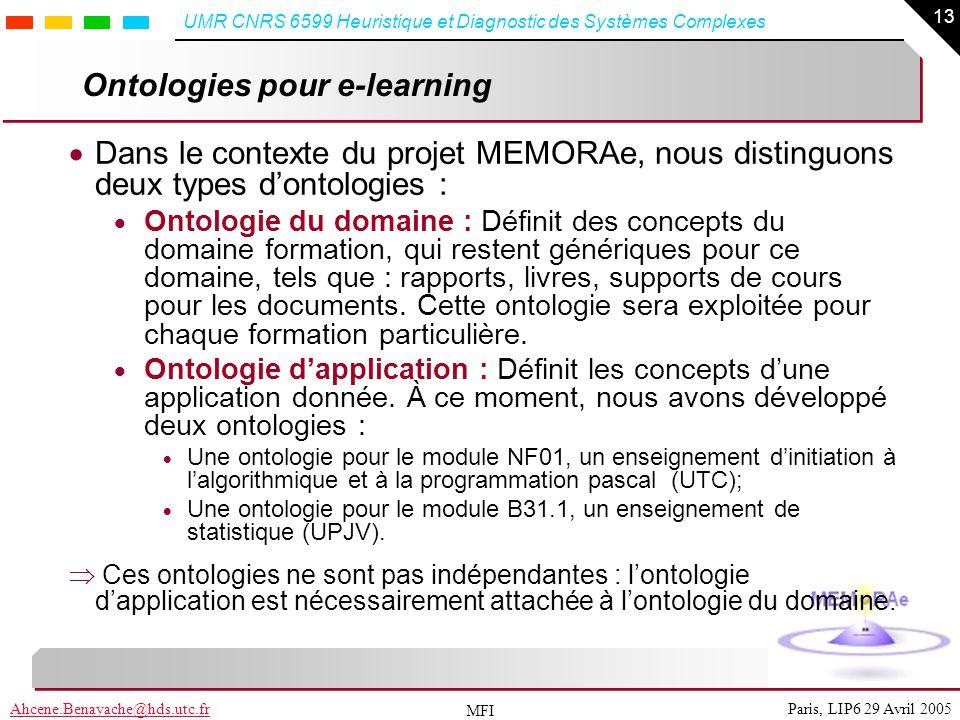 13 Paris, LIP6 29 Avril 2005Ahcene.Benayache@hds.utc.fr UMR CNRS 6599 Heuristique et Diagnostic des Systèmes Complexes MFI Ontologies pour e-learning
