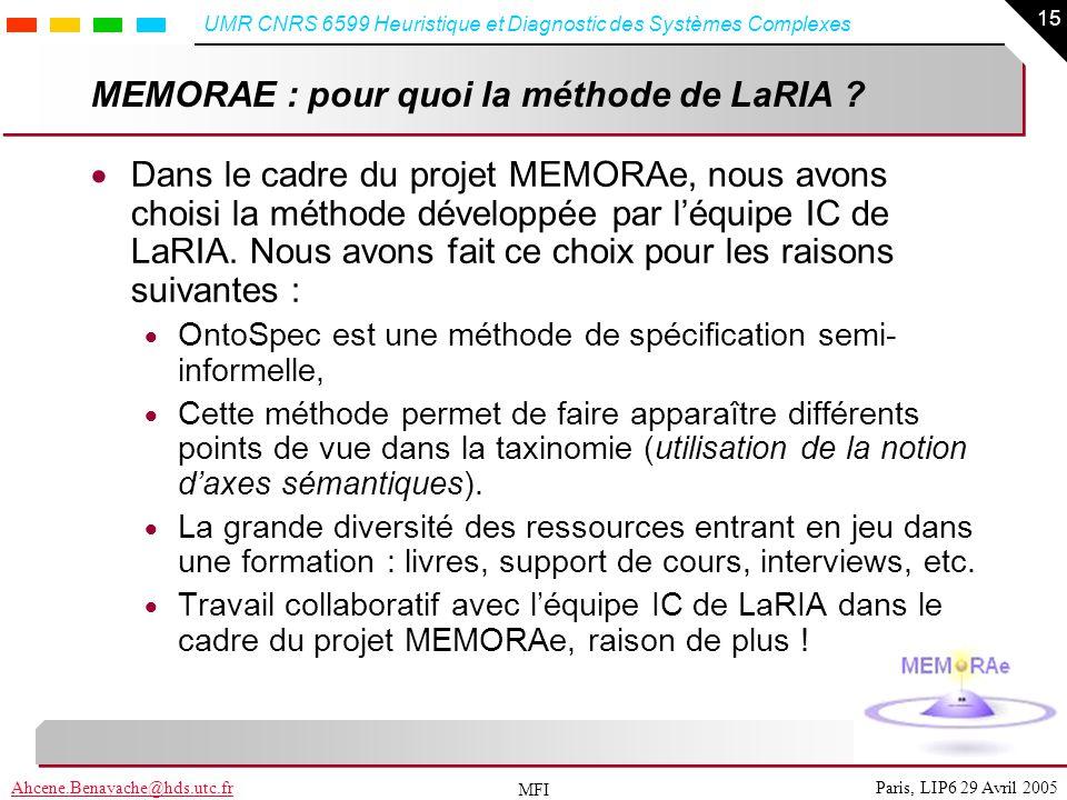 15 Paris, LIP6 29 Avril 2005Ahcene.Benayache@hds.utc.fr UMR CNRS 6599 Heuristique et Diagnostic des Systèmes Complexes MFI MEMORAE : pour quoi la méth