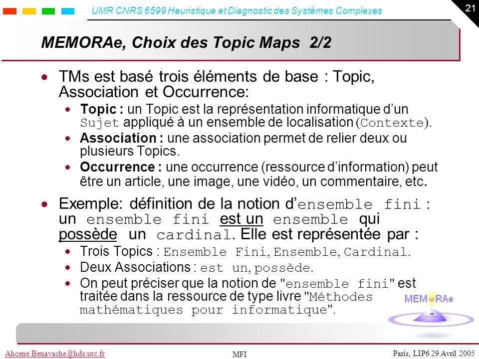 21 Paris, LIP6 29 Avril 2005Ahcene.Benayache@hds.utc.fr UMR CNRS 6599 Heuristique et Diagnostic des Systèmes Complexes MFI MEMORAe, Choix des Topic Ma