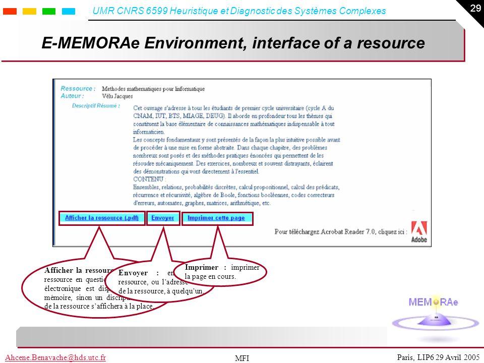 29 Paris, LIP6 29 Avril 2005Ahcene.Benayache@hds.utc.fr UMR CNRS 6599 Heuristique et Diagnostic des Systèmes Complexes MFI E-MEMORAe Environment, inte