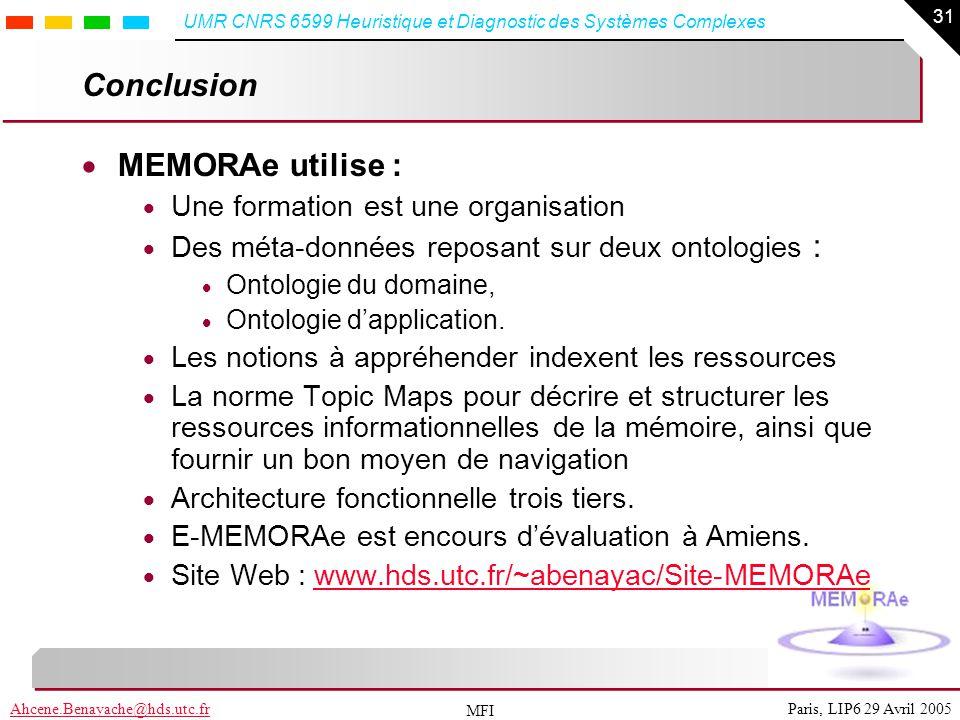 31 Paris, LIP6 29 Avril 2005Ahcene.Benayache@hds.utc.fr UMR CNRS 6599 Heuristique et Diagnostic des Systèmes Complexes MFI Conclusion MEMORAe utilise