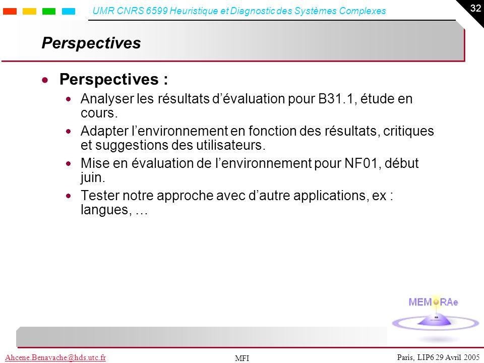 32 Paris, LIP6 29 Avril 2005Ahcene.Benayache@hds.utc.fr UMR CNRS 6599 Heuristique et Diagnostic des Systèmes Complexes MFI Perspectives Perspectives :