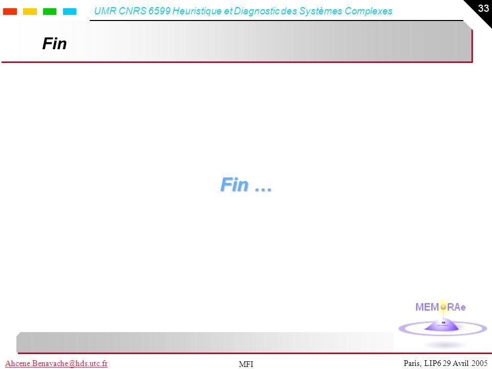 33 Paris, LIP6 29 Avril 2005Ahcene.Benayache@hds.utc.fr UMR CNRS 6599 Heuristique et Diagnostic des Systèmes Complexes MFI Fin Fin …