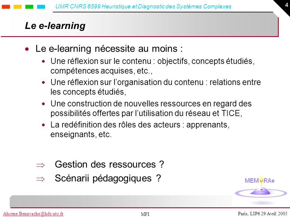 4 Paris, LIP6 29 Avril 2005Ahcene.Benayache@hds.utc.fr UMR CNRS 6599 Heuristique et Diagnostic des Systèmes Complexes MFI Le e-learning Le e-learning