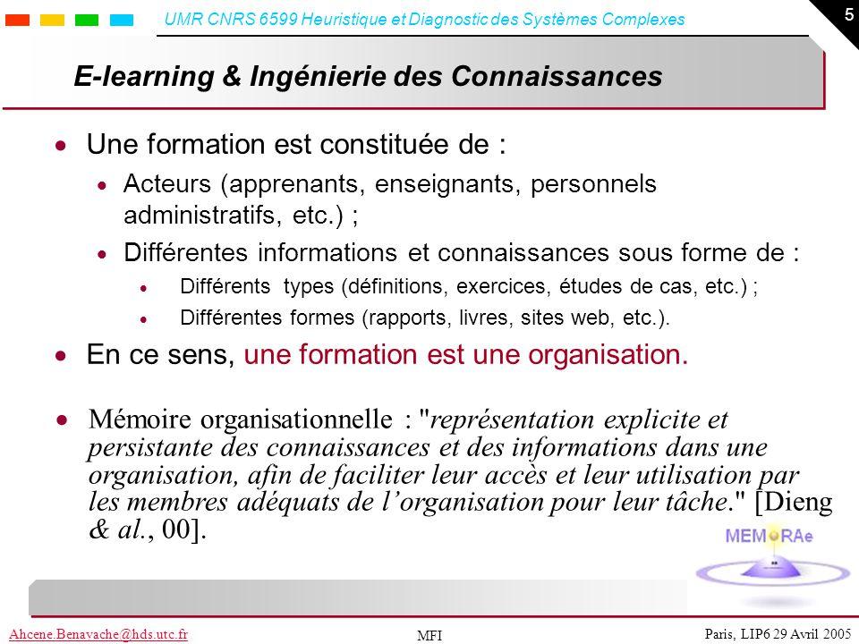 26 Paris, LIP6 29 Avril 2005Ahcene.Benayache@hds.utc.fr UMR CNRS 6599 Heuristique et Diagnostic des Systèmes Complexes MFI E-MEMORAe, platform Architecture trois tieres :