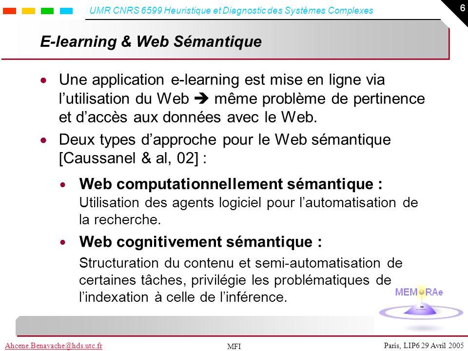 6 Paris, LIP6 29 Avril 2005Ahcene.Benayache@hds.utc.fr UMR CNRS 6599 Heuristique et Diagnostic des Systèmes Complexes MFI E-learning & Web Sémantique