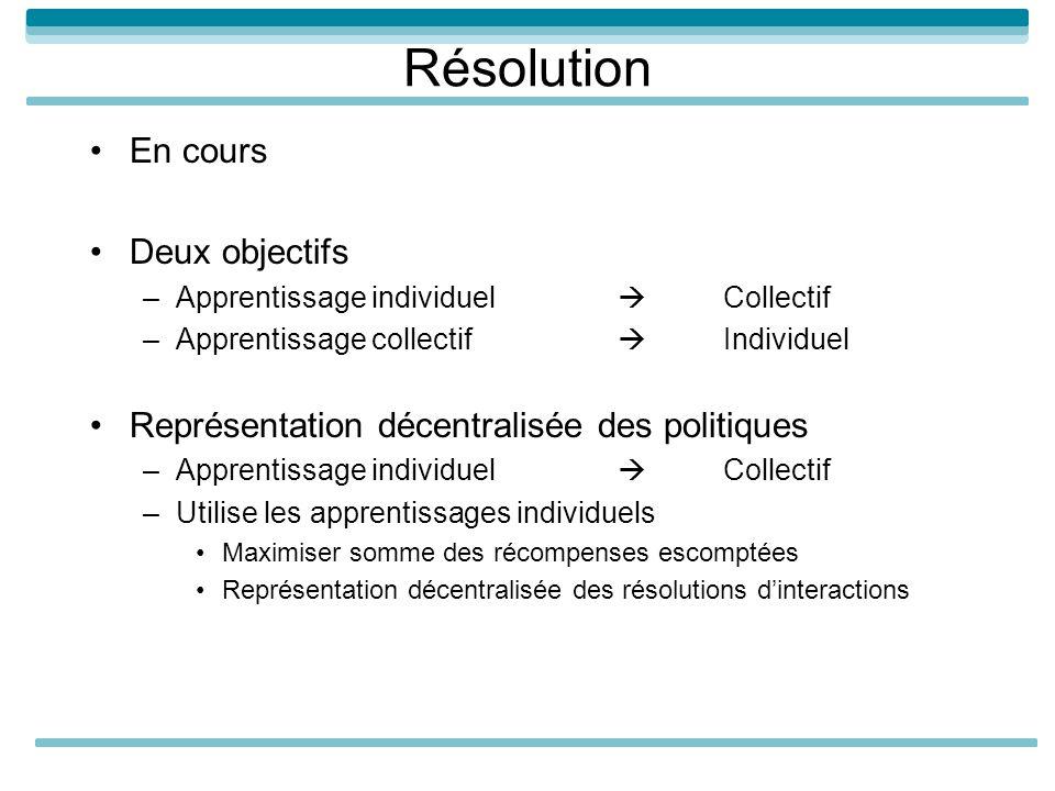 Résolution En cours Deux objectifs –Apprentissage individuel Collectif –Apprentissage collectif Individuel Représentation décentralisée des politiques