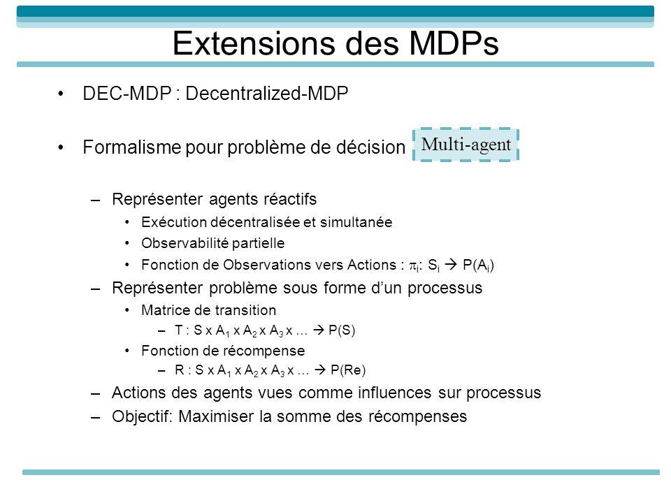 Extensions des MDPs DEC-MDP : Decentralized-MDP Formalisme pour problème de décision –Représenter agents réactifs Exécution décentralisée et simultanée Observabilité partielle Fonction de Observations vers Actions : i : S i P(A i ) –Représenter problème sous forme dun processus Matrice de transition –T : S x A 1 x A 2 x A 3 x … P(S) Fonction de récompense –R : S x A 1 x A 2 x A 3 x … P(Re) –Actions des agents vues comme influences sur processus –Objectif: Maximiser la somme des récompenses Multi-agent