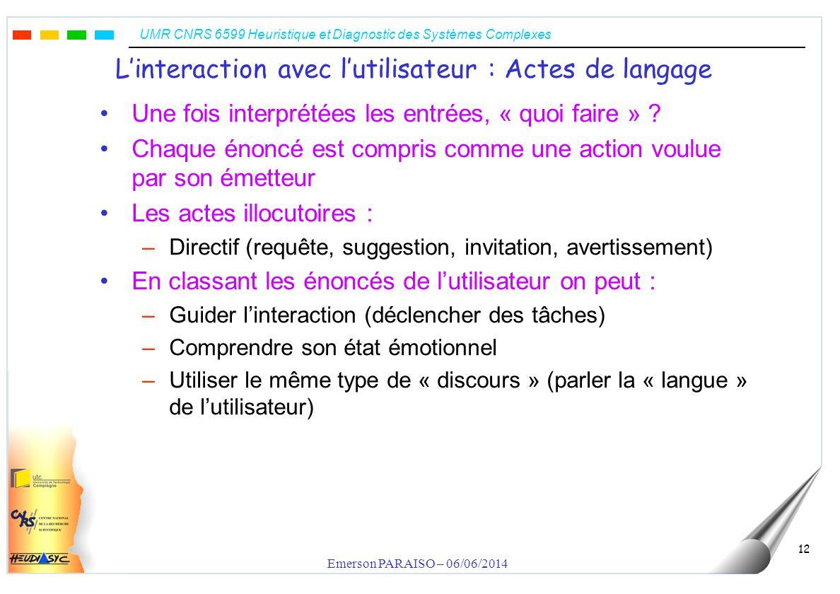 UMR CNRS 6599 Heuristique et Diagnostic des Systèmes Complexes Emerson PARAISO – 06/06/2014 12 Linteraction avec lutilisateur : Actes de langage Une fois interprétées les entrées, « quoi faire » .