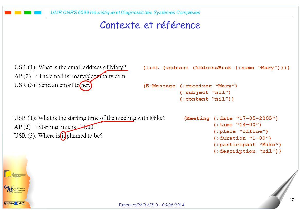 UMR CNRS 6599 Heuristique et Diagnostic des Systèmes Complexes Emerson PARAISO – 06/06/2014 18 Le modèle des tâches USER: List all conditions to receive an RMI ActionAttributObject (Allowance (:conditions nil) … ) (list (conditions (Allowance)))