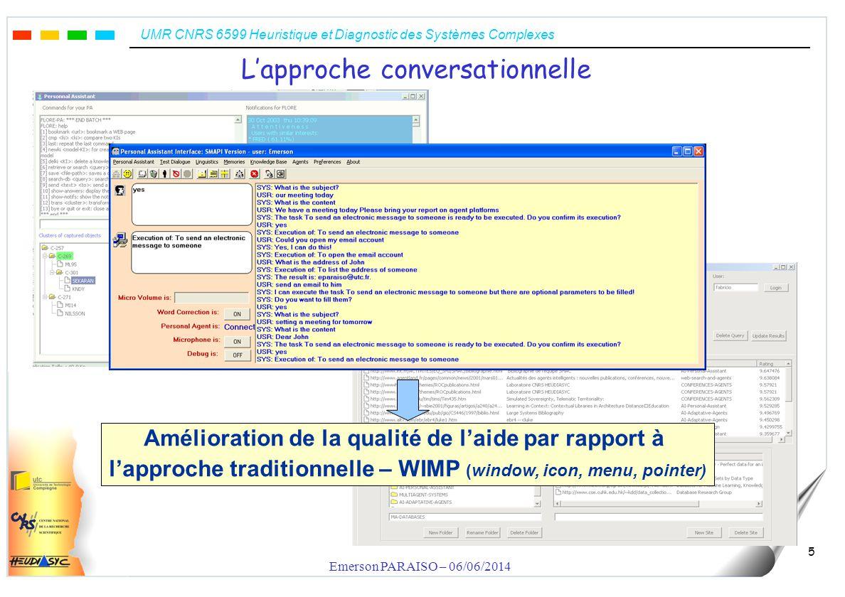UMR CNRS 6599 Heuristique et Diagnostic des Systèmes Complexes Emerson PARAISO – 06/06/2014 5 Lapproche conversationnelle Amélioration de la qualité d